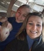 Lily and I visiting piglets