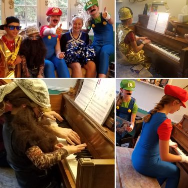Duets, solos, costumes, games, and whole lot of fun at piano parties.